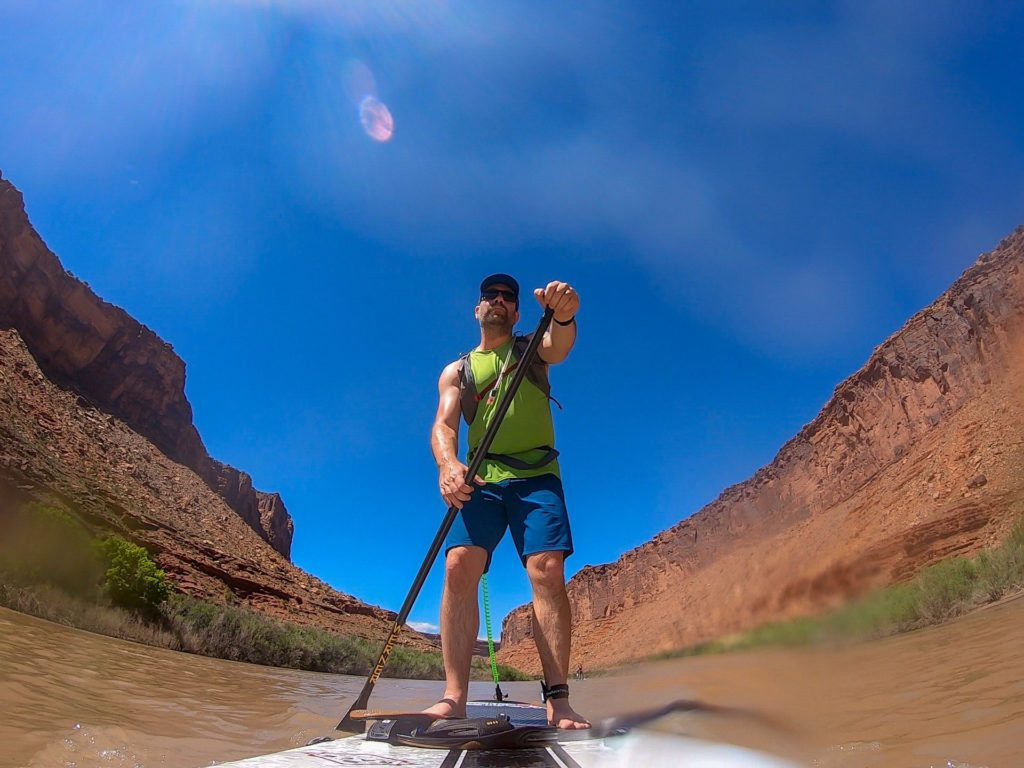 ivan paddling in canyon